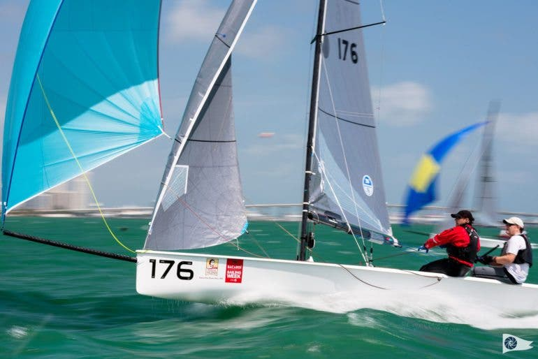 VX One Class 176 sailing at Bacardi Miami Sailing Week, day five. Photo by Cory Silken.