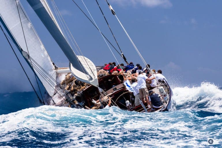 Velsheda sailing in the St. Barth's Bucket Regatta.
