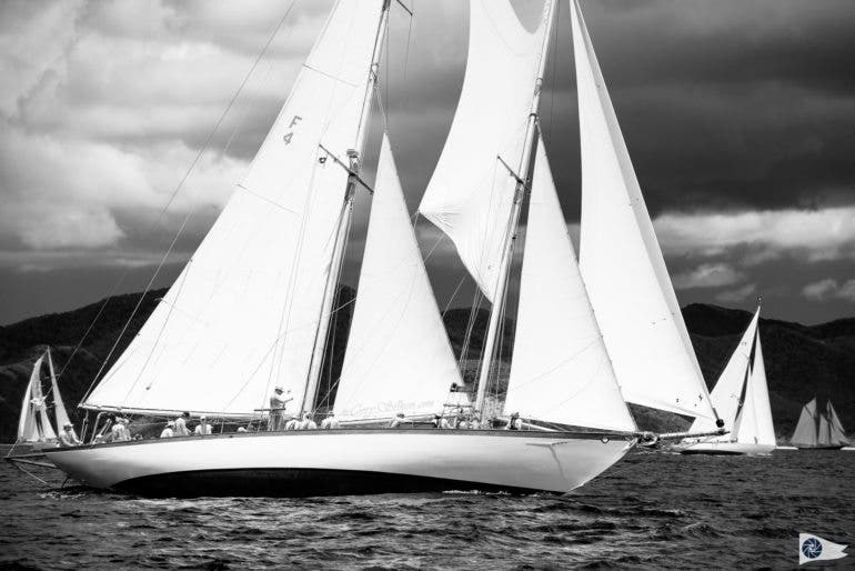 Mary Rose sailing in the Antigua Classic Yacht Regatta, Old Road Race.
