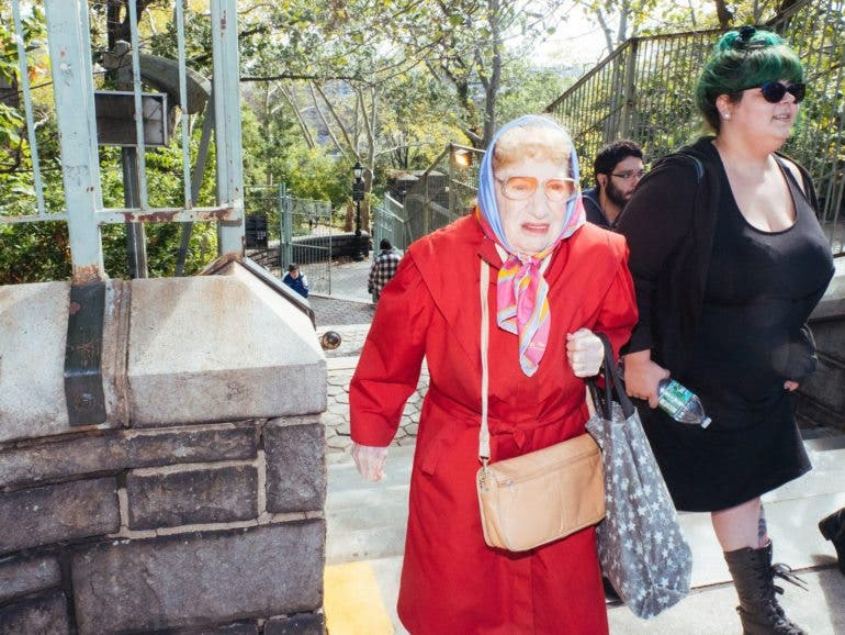 I don't know much about this lady. It was in north Manhattan. I loved her colors and look from another time.