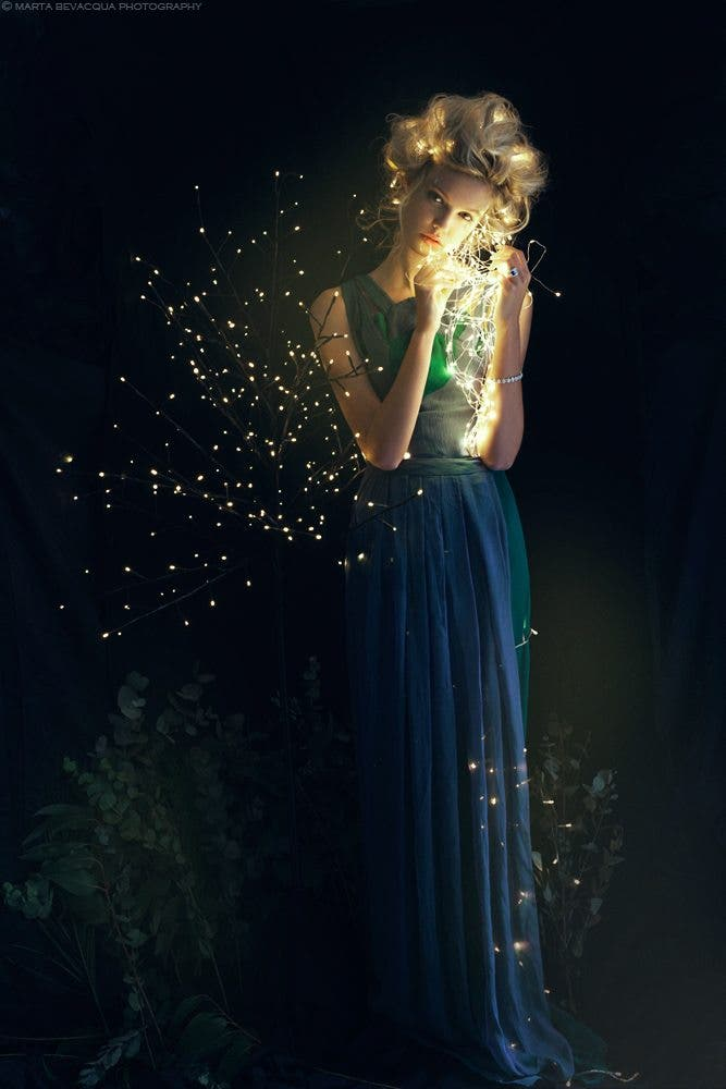 Marta Bevacqua's Life of Dragon Flies Creatively Combines Decorative Lighting with High Fashion