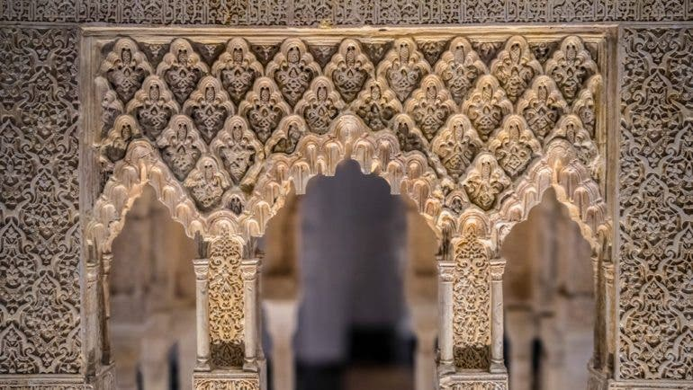 Architectural model of one of the pavilions at the Court of the Lions, Alhambra Palace, Granada, built about 1325-33. Architecture gallery, Victoria and Albert Museum, London