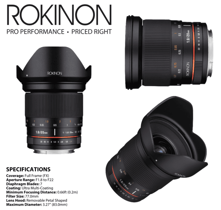 Rokinon Releases a 20mm f1.8 For Full Frame Cameras