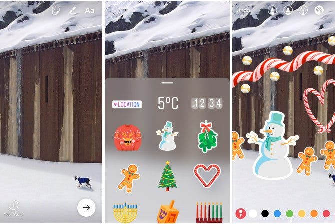 Instagram Adds Stickers To Stories With Holiday Cheer