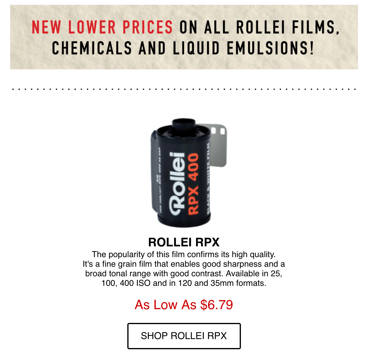 Freestyle Photographic Dropped Their Prices on Rollei Film and Developer