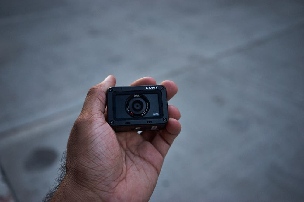 sony rx0. the sony rx0 is a camera that has whole lot going for it. it\u0027s got small form factor as you can see i hold it in my hand. rx0