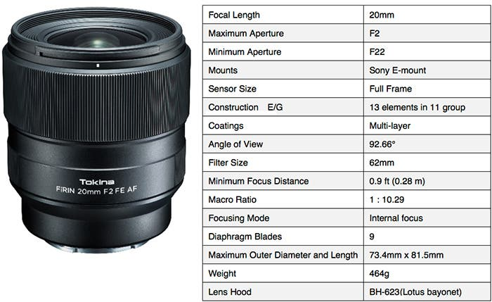 Tokina's FiRIN 20mm F2 FE AF is Another Third-Party Sony Lens with Autofocus