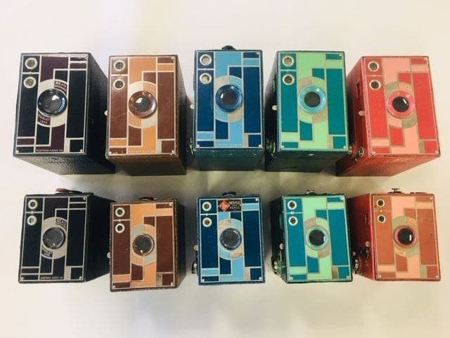 This Full Set of Gorgeous Art Deco Kodak Beau Brownie Cameras is Yours for $3,600