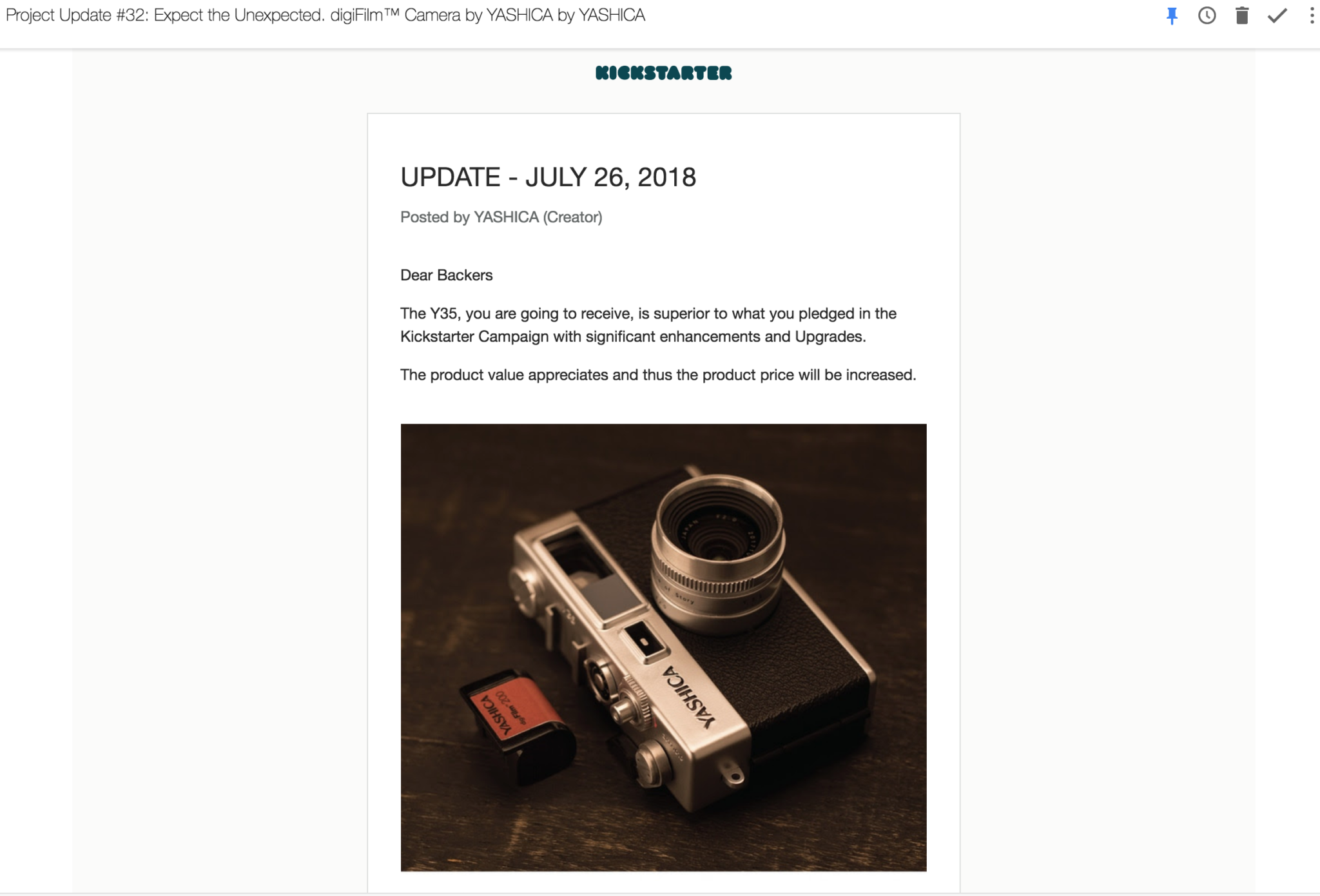 UPDATE: Did Yashica Just Tell Kickstarter Backers That They'll Need to Pay More to Get Their Cameras?