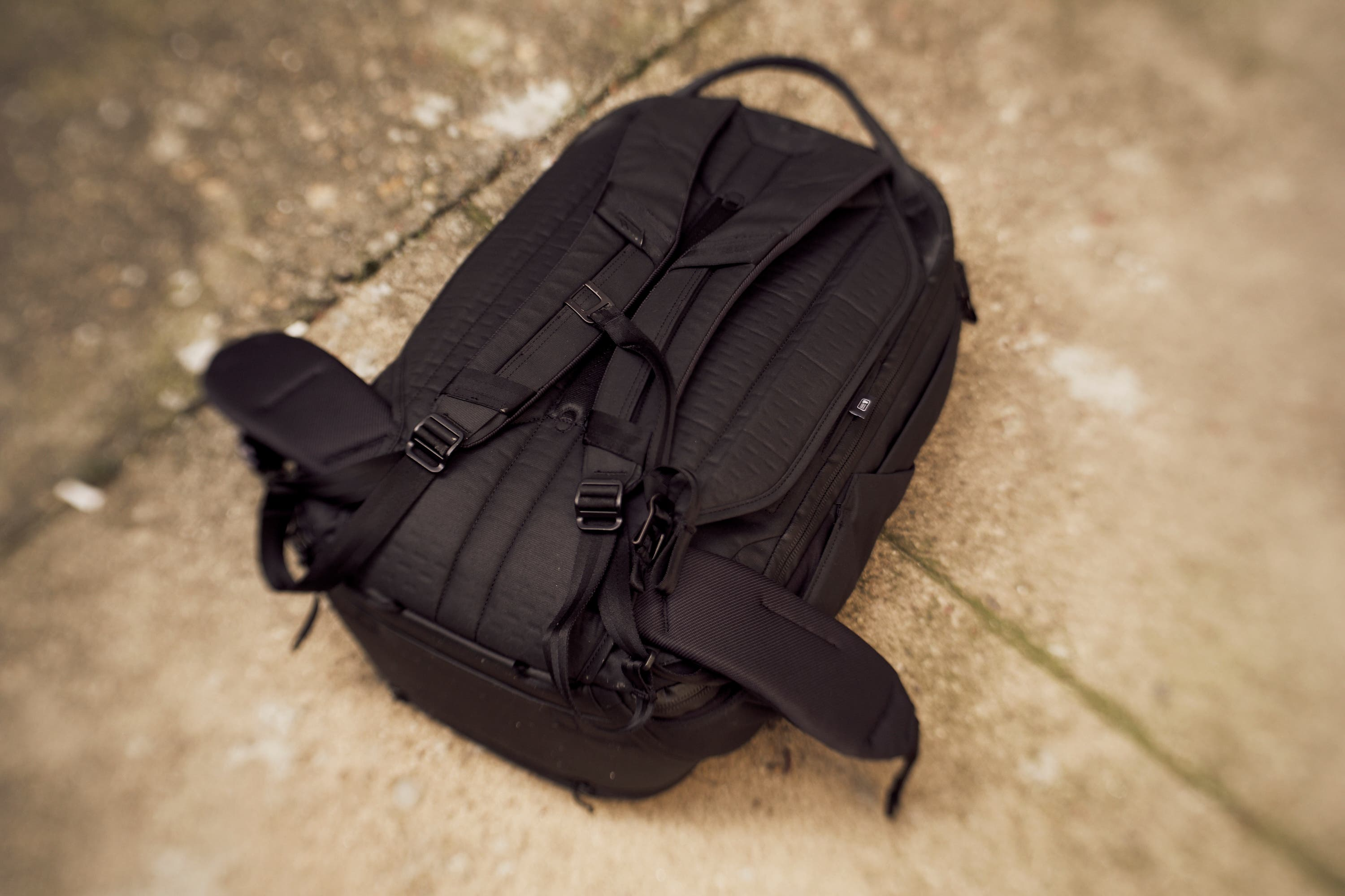 The back of the Peak Design Travel Backpack 45L has straps for your waist  and chest. They re comfortable enough in most situations and I like them. fc7b2c69ce65c