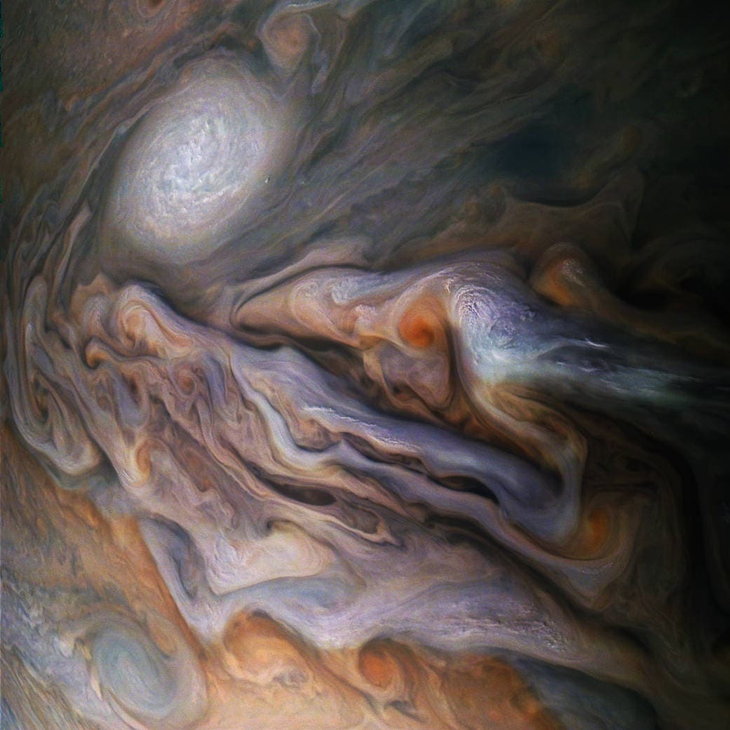 Juno Captures Magnificent Swirls of Jupiter's Clouds and Storms
