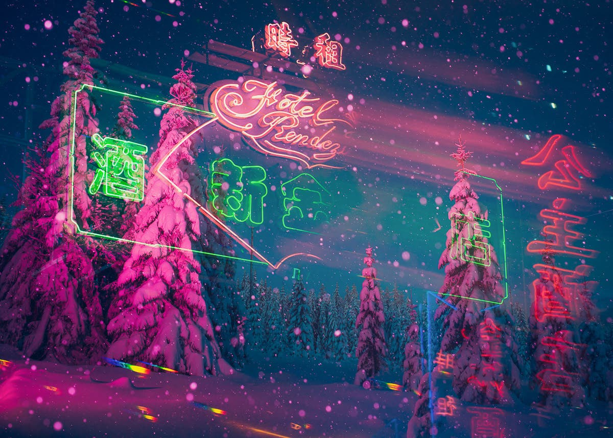 """Double Exposure Blends Nordic Nature and Hong Kong in """"Neonland"""""""