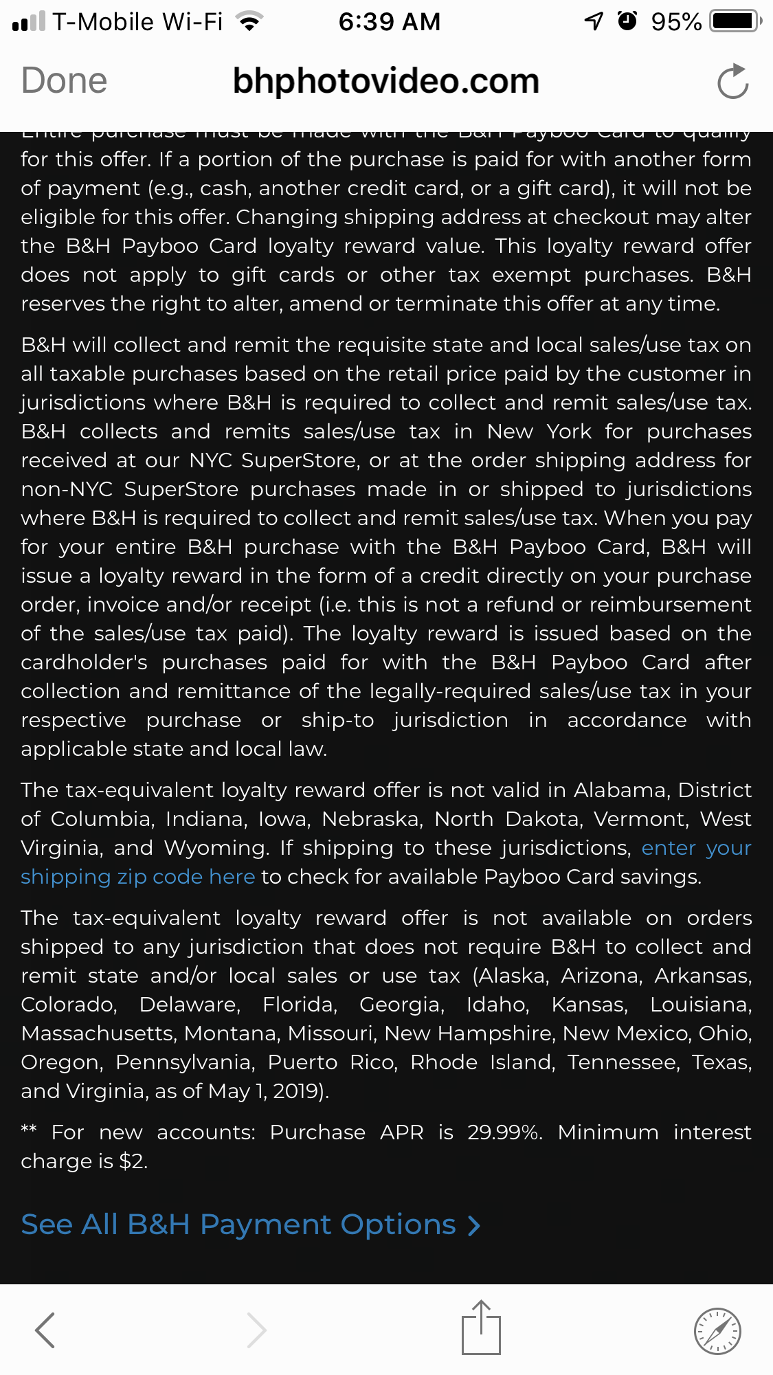 B&H's Payboo Credit Card Charges 29.99% Interest in Trade of Sales Tax