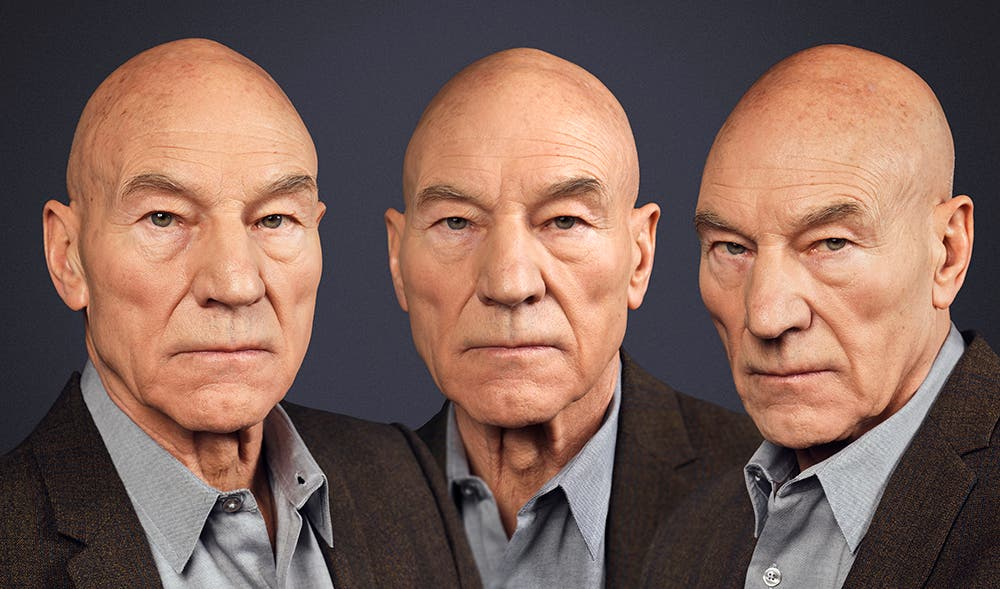 Rory Lewis Captures Sir Patrick Stewart in Van Dyck Triple Portrait Style