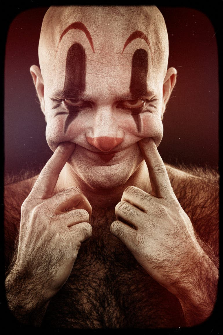 Eolo Perfido's Clownville Goes Deeper Than His Subjects' Masks (NSFW)
