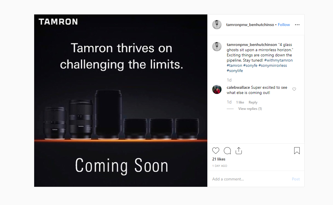 Tamron May Have New Prime Lenses for Sony E Mount