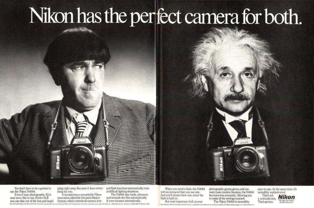 This Vintage Nikon Ad Used one of the Three Stooges and Einstein