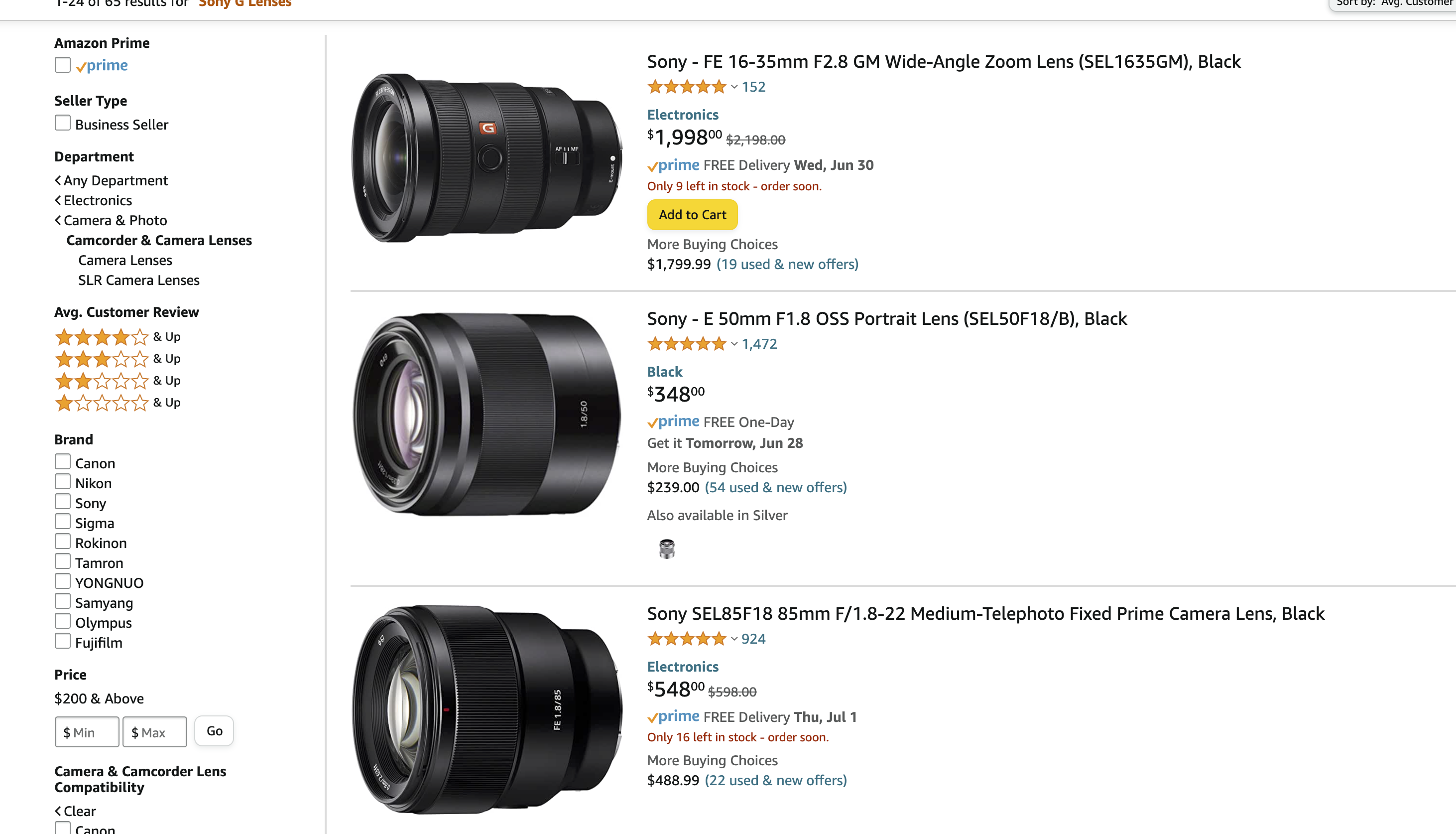 These Used Sony Lenses Are Enjoying Very Affordable Prices Right Now